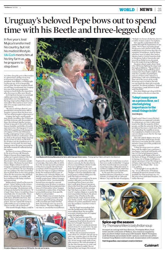 The Guardian elogia mejoras en la economía y la matriz energética durante gestión de Mujica