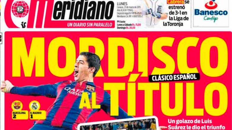 Tras el triunfo del Barcelona, Luis Suarez se luce en la tapa de los diarios del mundo