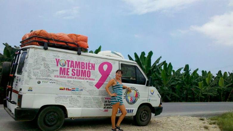Una mujer uruguaya recorre el mundo recabando apoyo en la lucha contra el cáncer de mama