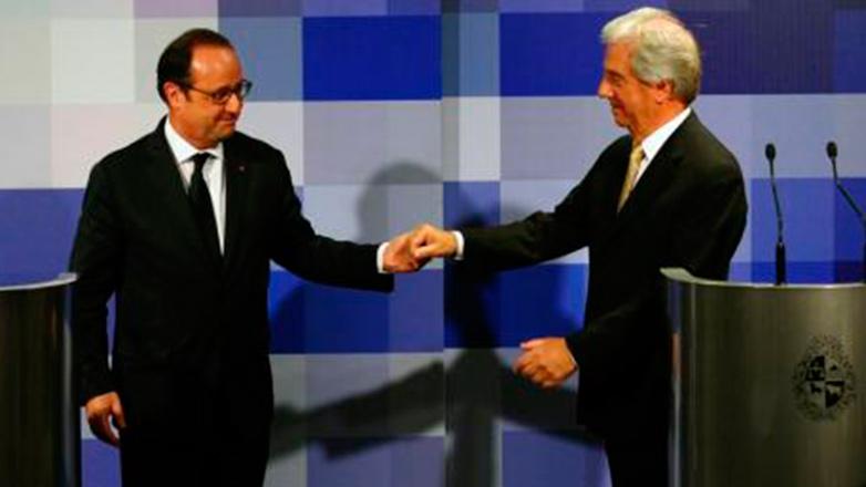 En su paso por Montevideo, Hollande anunció apoyo a las negociaciones con Mercosur
