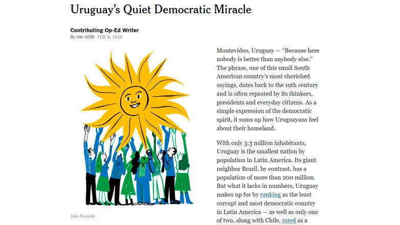 """Columna del New York times destaca """"milagro democrático"""" de Uruguay"""