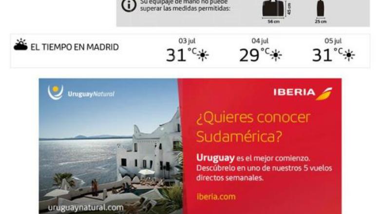 La aerolínea Iberia pone a Uruguay en todas sus tarjetas de embarque
