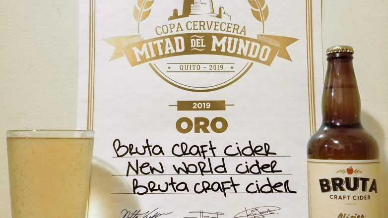 La sidra uruguaya Bruta, obtuvo una medalla de oro en la Copa Cervecera Mitad del Mundo, realizada en Ecuador