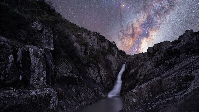 The Milky Way over Salto del Penitente park, Lavalleja
